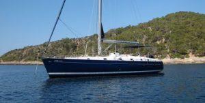 Velero fondeado de alquiler de barcos Ibiza
