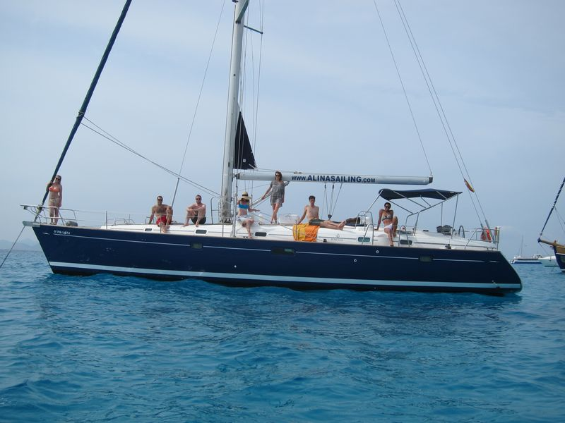 A group of friends pose on the deck of their skippered yacht charter Ibiza