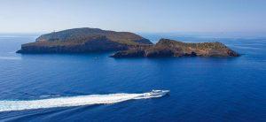 La isla de Tagomago, vista aérea. Se encuentra en el este de Ibiza